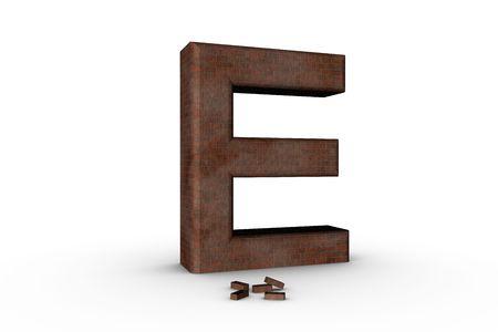 3D Font Alphabet Letter E in Brick texture on white Back Drop Stock Photo