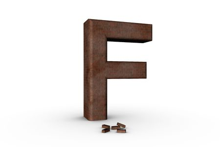 3D Font Alphabet Letter F in Brick texture on white Back Drop Stock Photo - 5197808