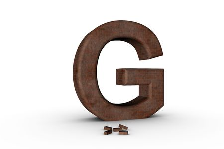 3D Font Alphabet Letter G in Brick texture on white Back Drop Stock Photo