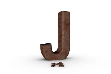 3D Font Alphabet Letter J in Brick texture on white Back Drop