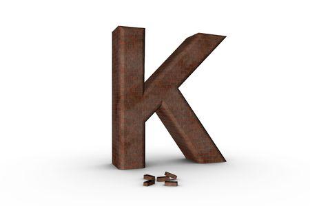 3D Font Alphabet Letter K in Brick texture on white Back Drop