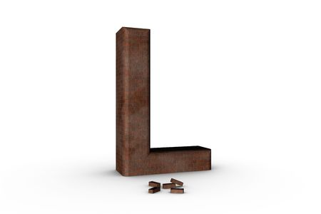 3D Font Alphabet Letter L in Brick texture on white Back Drop Stock Photo - 5197803