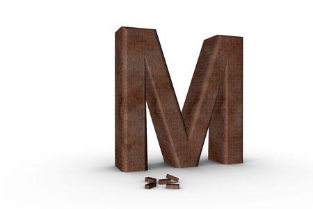3D Font Alphabet Letter M in Brick texture on white Back Drop Stock Photo