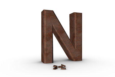 3D Font Alphabet Letter N in Brick texture on white Back Drop