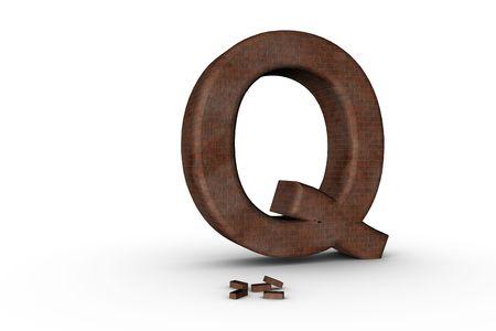 3D Font Alphabet Letter Q in Brick texture on white Back Drop