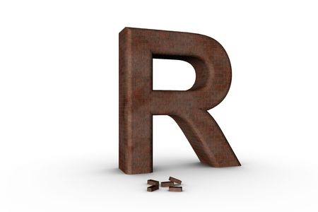 3D Font Alphabet Letter R in Brick texture on white Back Drop Stock Photo - 5197829