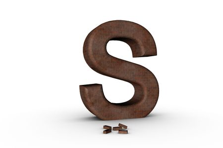 3D Font Alphabet Letter S in Brick texture on white Back Drop Stock Photo