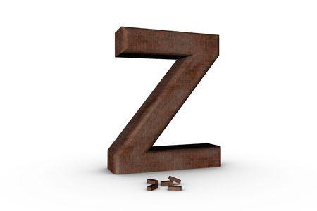 3D Font Alphabet Letter Z in Brick texture on white Back Drop Stock Photo