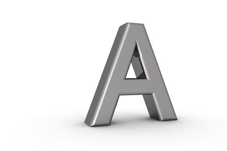 3D Font Alphabet Letter A in chrome texture on white Back Drop