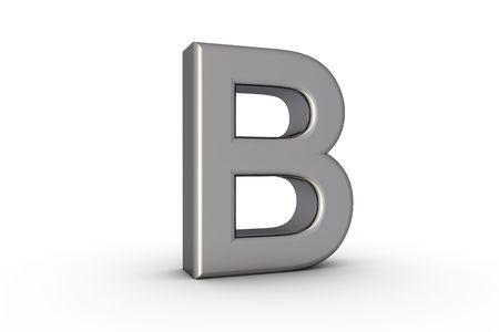3D Font Alphabet Letter B in chrome texture on white Back Drop
