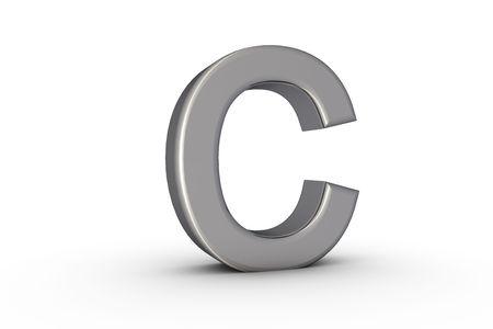3D Font Alphabet Letter C in chrome texture on white Back Drop Stock Photo