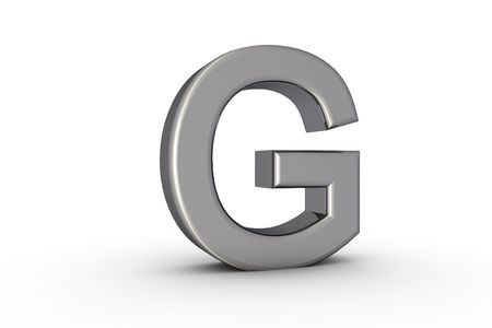 3D Font Alphabet Letter G in chrome texture on white Back Drop