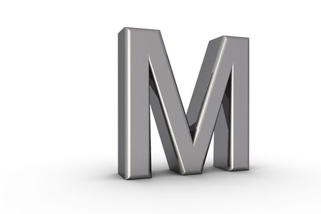 3D Font Alphabet Letter M in chrome texture on white Back Drop