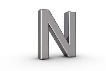 3D Font Alphabet Letter N in chrome texture on white Back Drop