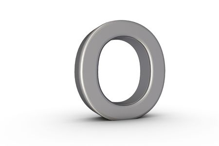 3D Font Alphabet Letter O in chrome texture on white Back Drop