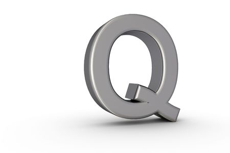 3D Font Alphabet Letter Q in chrome texture on white Back Drop
