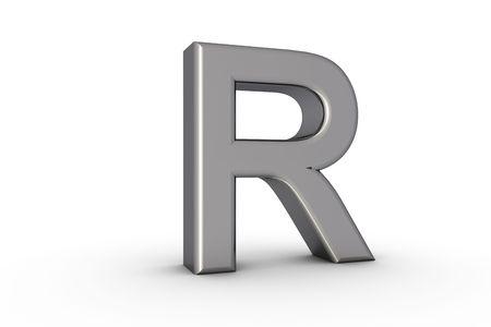 3D Font Alphabet Letter R in chrome texture on white Back Drop