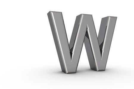 3D Font Alphabet Letter W in chrome texture on white Back Drop Stock Photo