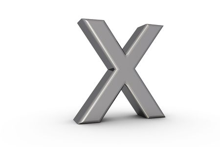 3D Font Alphabet Letter X in chrome texture on white Back Drop