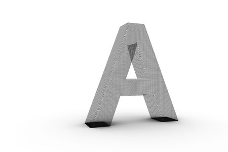3D Font Alphabet Letter A in wire mesh texture on white Back Drop