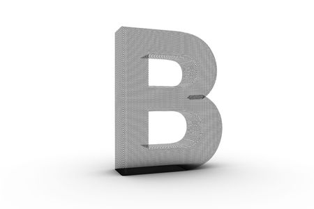 3D Font Alphabet Letter B in wire mesh texture on white Back Drop Stock Photo - 5197858