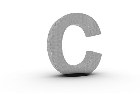 3D Font Alphabet Letter C in wire mesh texture on white Back Drop Stock Photo