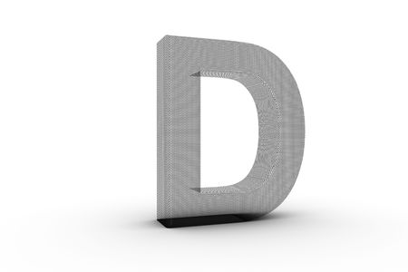 3D Font Alphabet Letter D in wire mesh texture on white Back Drop Stock Photo - 5197856