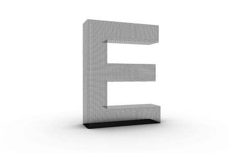3D Font Alphabet Letter E in wire mesh texture on white Back Drop Stock Photo - 5197851