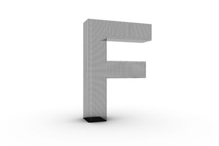 3D Font Alphabet Letter F in wire mesh texture on white Back Drop Stock Photo - 5197844