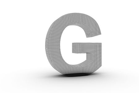 3D Font Alphabet Letter G in wire mesh texture on white Back Drop Stock Photo - 5197855