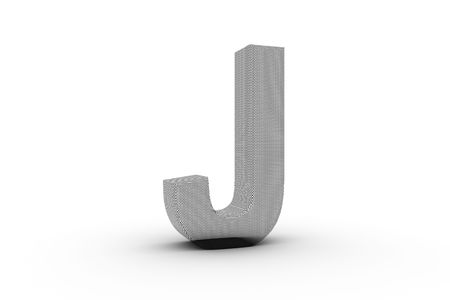 3D Font Alphabet Letter J in wire mesh texture on white Back Drop Stock Photo - 5197841