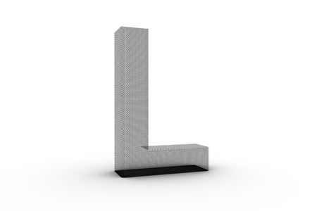 3D Font Alphabet Letter L in wire mesh texture on white Back Drop Stock Photo