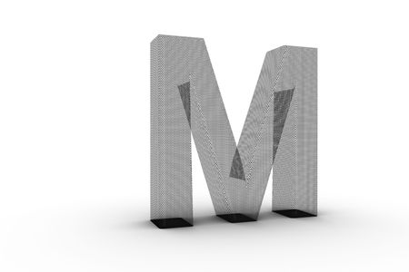 3D Font Alphabet Letter M in wire mesh texture on white Back Drop Stock Photo - 5197861