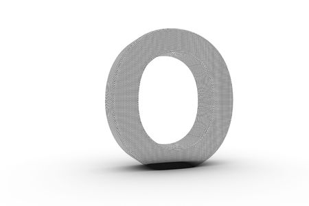 3D Font Alphabet Letter O in wire mesh texture on white Back Drop Stock Photo - 5197854