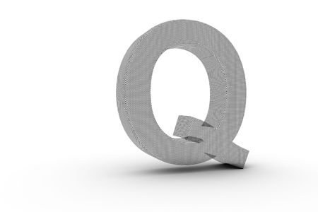 3D Font Alphabet Letter Q in wire mesh texture on white Back Drop Stock Photo - 5197860