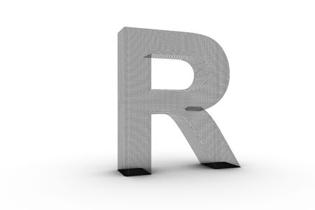3D Font Alphabet Letter R in wire mesh texture on white Back Drop