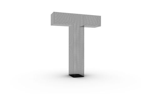 3D Font Alphabet Letter T in wire mesh texture on white Back Drop Stock Photo
