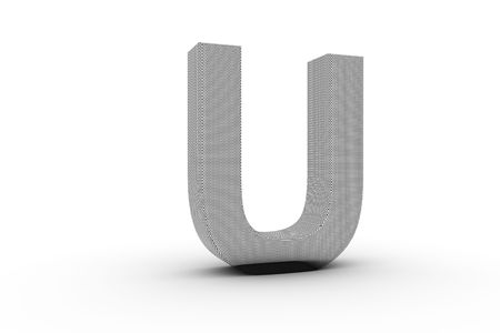 3D Font Alphabet Letter U in wire mesh texture on white Back Drop
