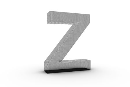 3D Font Alphabet Letter Z in wire mesh texture on white Back Drop Stock Photo