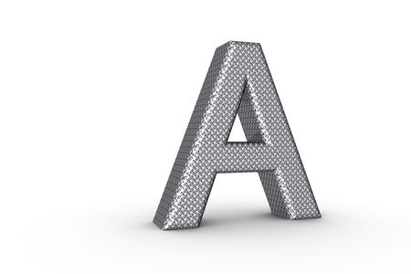 3D Font Alphabet Letter A in diamond metal tread plate texture on white Back Drop.