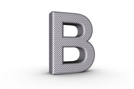 3D Font Alphabet Letter B in diamond metal tread plate texture on white Back Drop.
