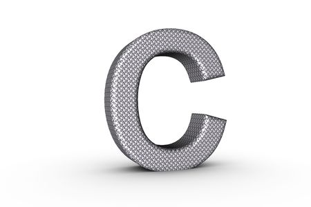 3D Font Alphabet Letter C in diamond metal tread plate texture on white Back Drop. Stock Photo