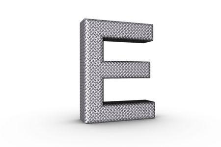 3D Font Alphabet Letter E in diamond metal tread plate texture on white Back Drop.