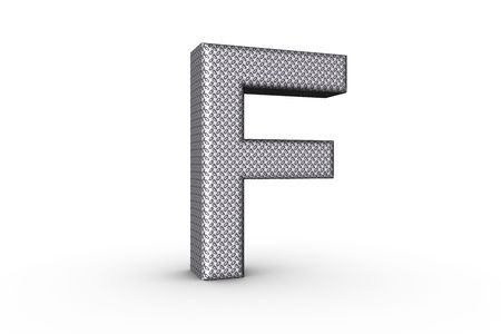 3D Font Alphabet Letter F in diamond metal tread plate texture on white Back Drop.