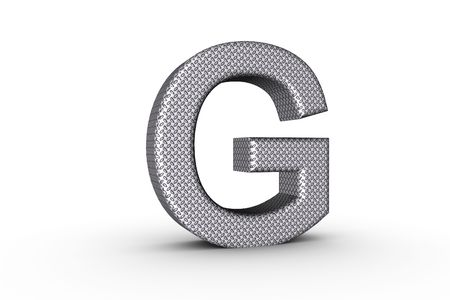 3D Font Alphabet Letter G in diamond metal tread plate texture on white Back Drop. photo