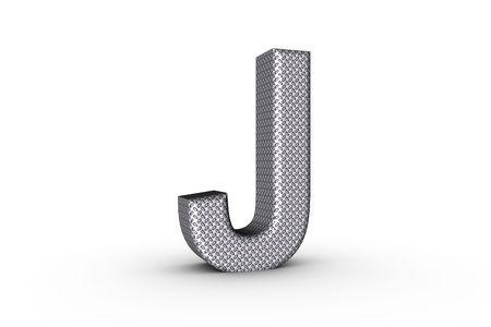 3D Font Alphabet Letter J in diamond metal tread plate texture on white Back Drop.
