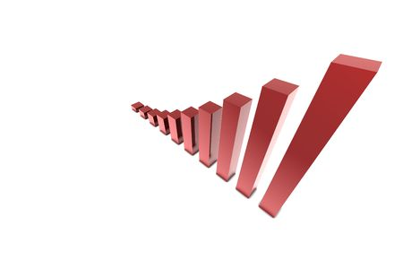 3D Red chart on white isolate back ground Stock Photo