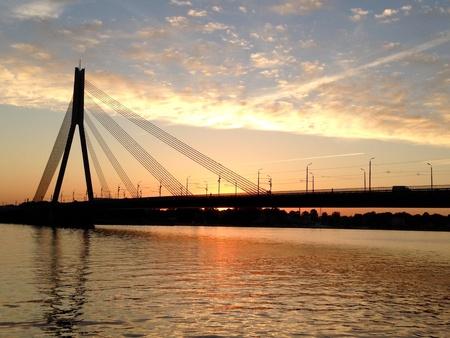 riga: Beautiful sunset in Riga