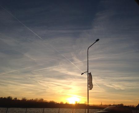 riga: Summer sunset in Riga Stock Photo