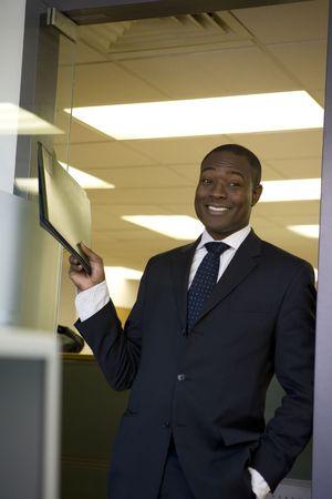 Businessman holding file Stock Photo - 4518019